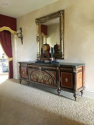 French Table empire style Credenza Inlaid wood with Marble top