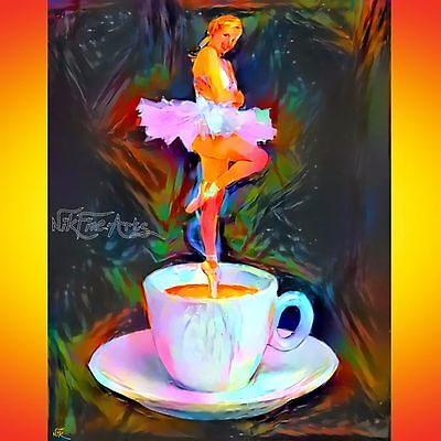 "Nik Tod Original Painting Large Signed Art Rare ""a Woman Goes Out Of My Coffee"""