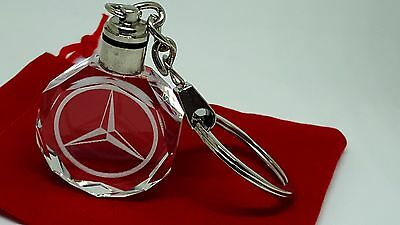 Mercedes Benz A.B,C,E,M Class Car Logo Keyring Crystal LED Light with Gift Pouch