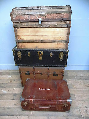 Vintage Cabin Trunks, Box, Leather Suitcase, Period Luggage