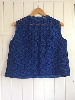 Pretty Dark Blue Lacy Vintage/retro Top Approximate Size 10-14
