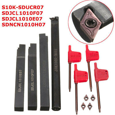 [NEW] 4pcs S10K-SDUCR07/SDJCR/SDJCL/SDNCN1010H07 Turning Tool Holder Set with 4p
