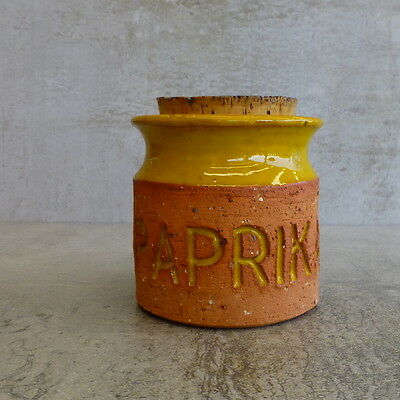 Mid Century Florenz Pottery Paprika Spice Jar  original cork Made in Australia