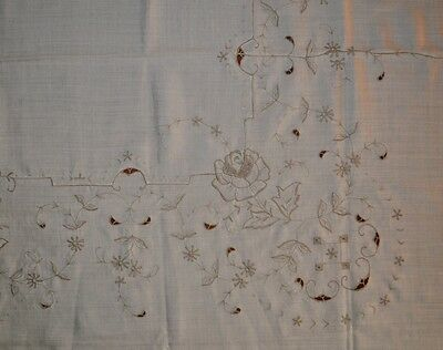Vintage Cream Tablecloth with Ecru Embroidery - 210cm x 165cm