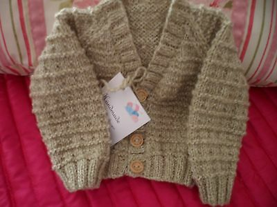 Brand New Hand Knitted Baby Boy's Beige Mix Cardigan Age 0-3 Months