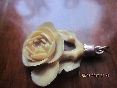 Antique Finely Carved  French Diepee Bovine Bone Victorian Flower Pendent 1890