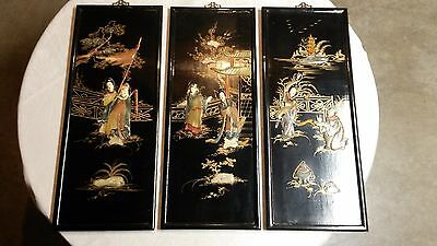 """( 3 ) Vintage """" ASIAN BLACK LACQUER WALL PANELS """" With, 2 Dimensional Relief"""