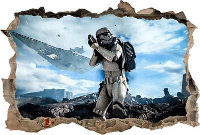 STAR WARS Stormtrooper Smashed Wall Decal Removable Wall Sticker Art H288