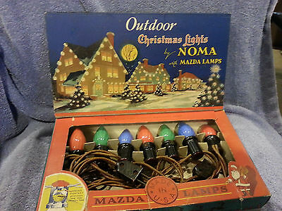 Vintage NOMA Outdoor Christmas Lights, 7 Multicolored, #3005, Meteor plug Santa