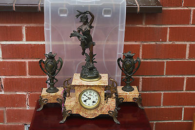 Antique French Bronze Marble Figurine Mental Clock mid 19c