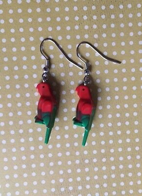 Parrot Dangle Earrings, Surgical Stainless Steel, Handmade With Lego® Birds