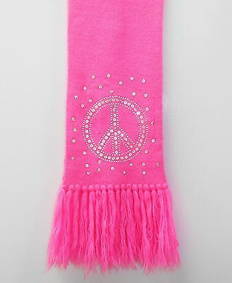 Justice Scarf Neon Hot Pink Peace Sign Sequins Fringed