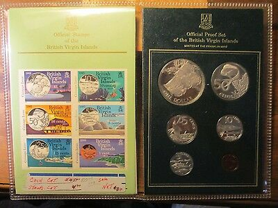 British Virgin Islands 1985 Silver proof set with Mint stamps Fish
