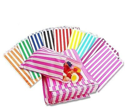 100- STRIPED CANDY PAPER BAGS 7x9 FOR SWEET FAVOUR BUFFET WEDDING CAKE GIFT SHOP