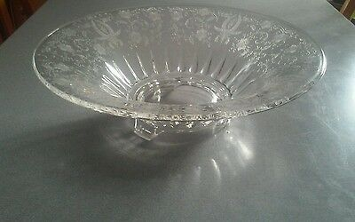 "Fostoria Etched Glass 11 3/4""  Footed Bowl"