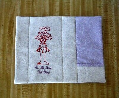 Red Hat It's All About That Bling Mug Rug Placemat with pocket tea napkin spoon