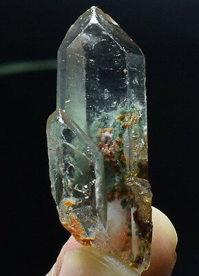9.7g Natural Green Phantom Ghost QUARTZ Crystal Wand Point Y109