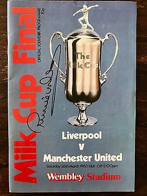 Milk Cup Final 1983 Programme Liverpool vs Man Utd signed by Ronnie Whelan