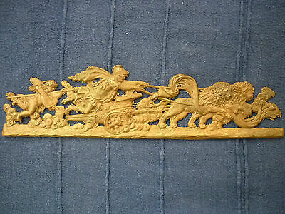 Superb Chariot Of The Gods With Lions & Cupid Furniture Applique. To Finish.