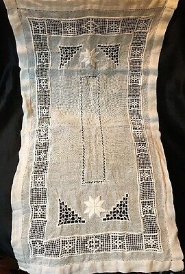Ant QUAINT ENGLISH Coarse Bleached Flax Runner, Embroidery, Pulled Work 25 x 14""