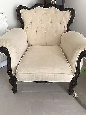 Antique Reupholstered Cream Carved Wood Sofa Arm Chair