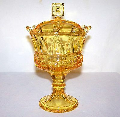 Fostoria Windsor Crown Topaz Yellow Glass Pedestal Candy / Compote With Lid