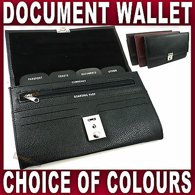 PU LEATHER TRAVEL WALLET Document organiser passport holder LOCKABLE holiday