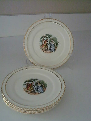 """5 HARKER POTTERY 6   1/4""""  bread and butter plates COURTING SCENE gold rim"""