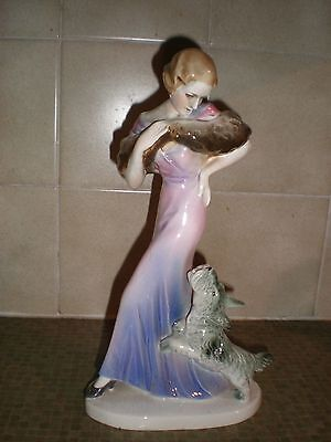"""Art Deco  Figure  Lady With Terrier Dog 11""""  Continental  Sold For  Restoration"""