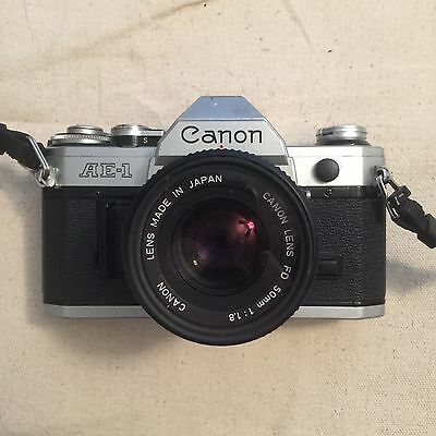 Canon AE-1 35mm SLR Film Camera Canon 50mm 1.8 Lens with Neck Strap