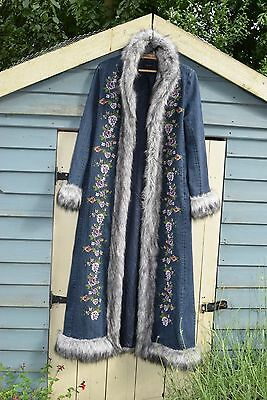 East embroidered denim afghan style coat boho hippy penny lane 12 10 8 6 m s 70s