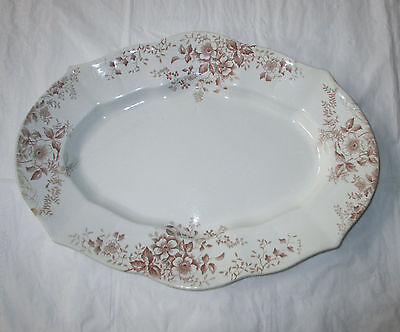 "Antique 17"" F. Winkle SURREY Platter, Aesthetic Brown Flowers Transferware"