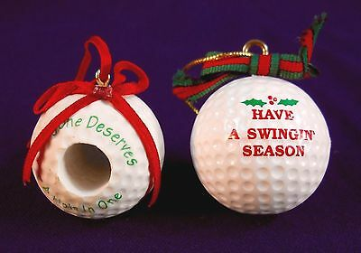 Lot of 2 Golf Ball Christmas Ornaments