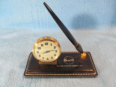 Vintage Gulf Oil Company Desk Set Clock and Pen on Embossed Leather Base