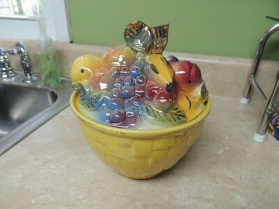 Vintage 1950's SHAWNEE Colorful Fruit Basket Cookie Jar - #84 - Pottery - Treats