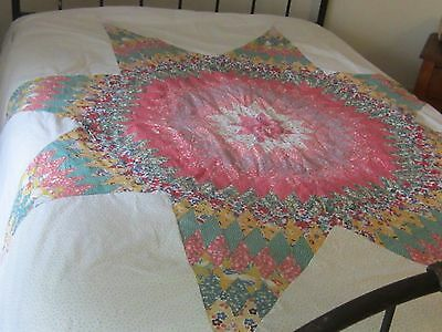 Astonishing Antique Vintage Multicolored Lone Star Quilt TOP 76 X 76""
