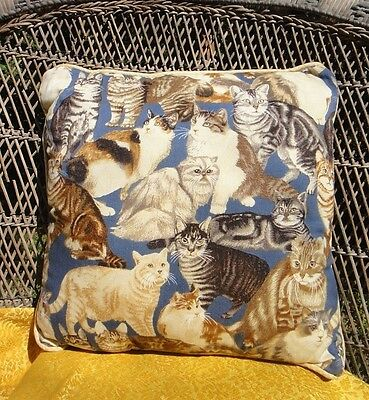 """ALL BREEDS OF BEAUTIFUL CATS LARGE THROW PILLOW 17"""" x 17"""" by Platinum Couture"""