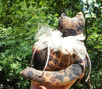 """Fancy Cat Shaped Pillow 11"""" Tall Beautiful Floral With Lace & Ribbon Around Neck"""