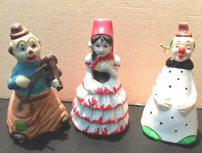 Lot of three vintage porcelain Clown and Senorita Figural Bells