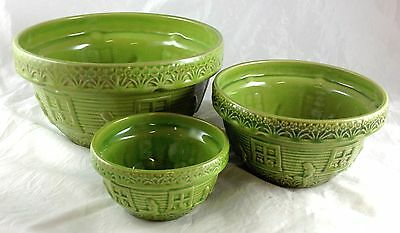 Mccoy Pottery 3 Pc Jadite Green Nesting Mixing Bowls Girl Waters Flowers Window