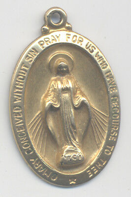 Vtg Catholic Gold Filled Religious Miraculous Blessed Mother Mary Medal