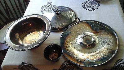 Estate Lot Of Serving Dishes And Tray, Silver Plated, Check-Picture's