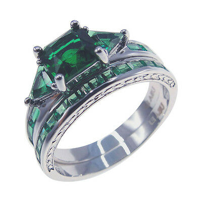 2-in-1 AAA Green CZ Women Antique Art Deco Engagement Ring Sets 8#