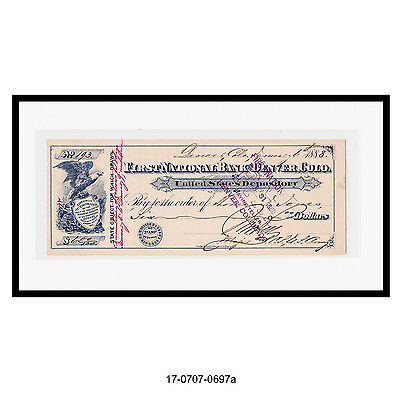 First National Bank-United States Depository, Denver Co. Bank Check