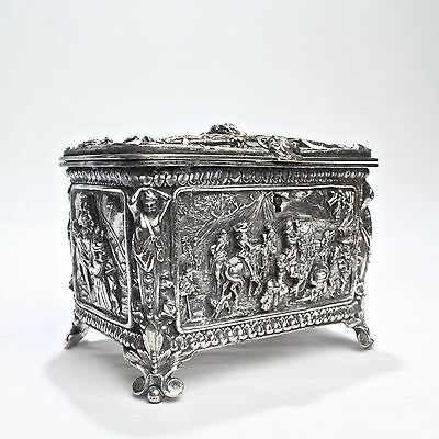 Exceptional Antique Electrotype Silverplate Figural Casket Dresser Box - 3D SL