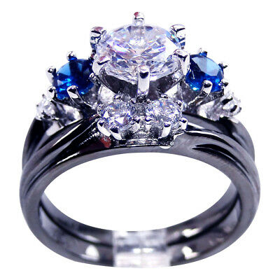 925S Blue CZ White Gold Filled Flower Women Engagement Bridal Ring Sets