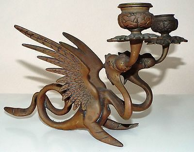 Vintage Chinese Phoenix Double Candle Holder