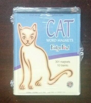 CAT WORD MAGNETS Magnetic Poetry Kit 1998 Fridge Fun 301 words 10 blanks SEALED