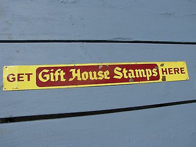 Vintage 1960's Get Gift House Stamps Here Tin / Metal Advertising Sign