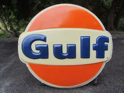 Vintage 6ft. GULF GAS OIL SIGN Plastic Lexon Station NOT PORCELAIN METAL c.1981